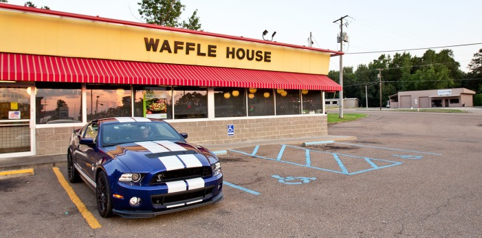 2013 Shelby GT500 in front of Waffle House
