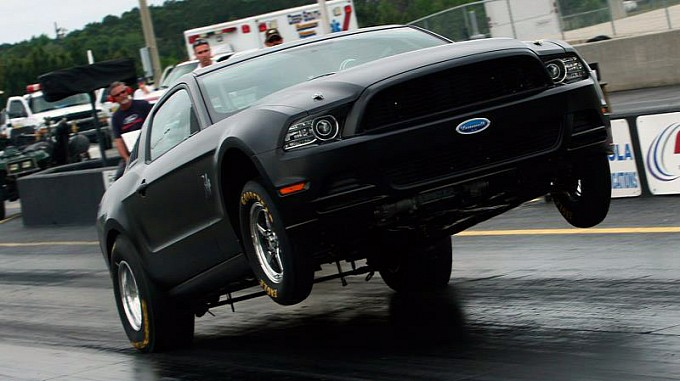 Wheelie by 2014 Mustang Cobra Jet Race Car