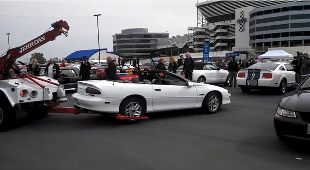 Camaro Towed at Mustang 50th Birthday Party