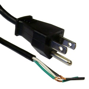 3Prong Power Cord with Open Wiring  6 ft