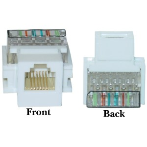 White Phone Jack Keystone | RJ11RJ12 to Wire Insert | CableWholesale