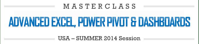 Advanced Excel, Power Pivot & Dashboards - Masterclass - 2014 - Preparatory Material