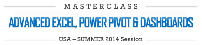 Advanced Excel, Power Pivot & Dashboards Masterclass by Chandoo.org - USA - Houston, TX - 2014