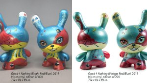 64 Colors' Good 4 Nothing Dunny from Kidrobot, Bright versus Vintage editions