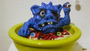 Tim Clarke's Spaghetti with Eyeballs at Clutter Gallery's Boglins Custom Toy Show exhibition