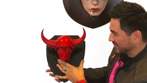 Brian M. Viveros' Blood Red Bullheaded Sculpture from Pretty in Plastic