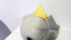 Stitched 2 Exhibition - Heather Gross's Paper Hat Cat (White)