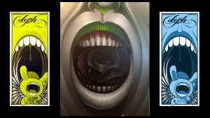 Deph's Big Mouth screen prints & painting, 2006 & 2013