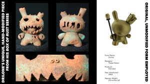 DrilOne's Box of Rust custom blind boxed series, Kidrobot's Dunny