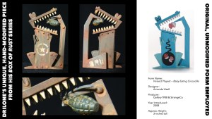 DrilOne's Box of Rust custom blind boxed series, Amanda Visell's Vivisect Playset: Baby Eating Crocodile