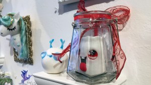 Clutter Magazine Gallery's Gift Wrapped 2017 - Martina Marzullo's Merry, the candle lantern & Frosty, the Enchanted Snowball