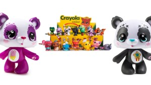 Examples of Linda Panda's toy designs, including Care Bears & Crayola
