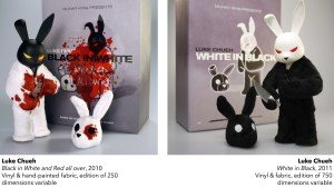 Luke Chueh's Black in White and Red all over & White in Black from Munky King, 2010 & 2011