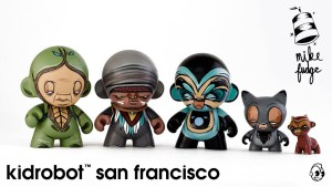 Mike Fudge's custom Munny & Munnyworld figures for Kidrobot SF, circa 2013