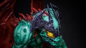 Mike Sutfin's Devilman figure from Unbox Industries, face detail