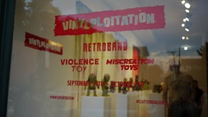 Retroband, Miscreation Toys & Violence Toy's Vinylploitation exhibition - window display