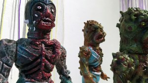 Violence Toy's work in detail at Clutter Gallery's Vinylploitation exhibition