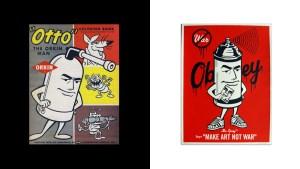 Otto the Orkin Man versus Shepard Fairy's Mr. Spray design