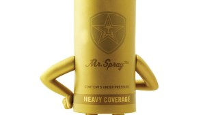 Shepard Fairy's Mr. Spray vinyl figure from StrangeCo, Gold Edition