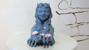 Yokai exhibition - Octoplum's Ao Andon (Blue with Pink Blossom)