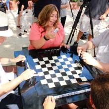 Urban Conga outdoor chess tables in Ybor City