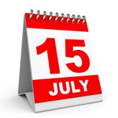 Calendar on white background. 15 July. 3D illustration.