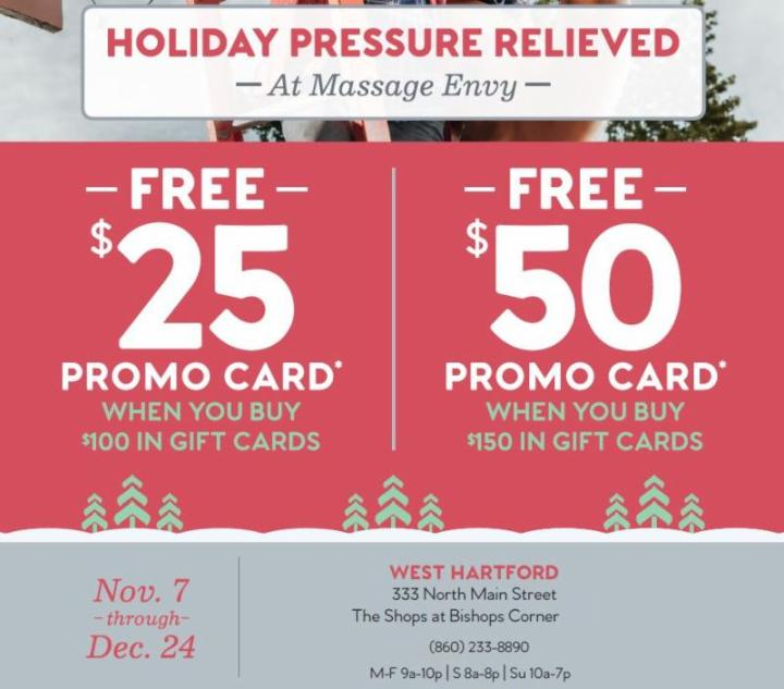 holiday pressure relieved at massage envy - Holiday Gift Card Promotions 2017