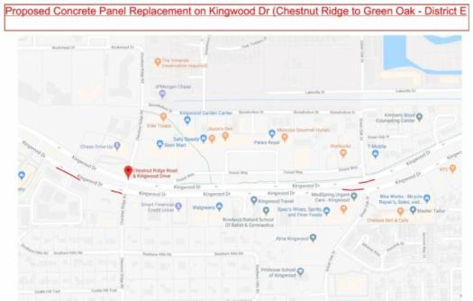 Kingwood Drive Panel Replacement Repairs Schedule – KINGWOOD, TEXAS