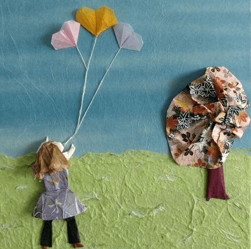 Origami balloon hearts and young girl in spring. Artwork by Linda Stephen