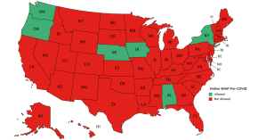 Map of the United States with only six states - WA OR NE IA AL and NY - in green showing they allowed SNAP online before COVID-19.