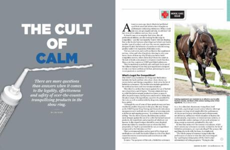 """Lisa Slade's award-winning article """"The Cult of Calm"""" in The Chronicle of the Horse."""