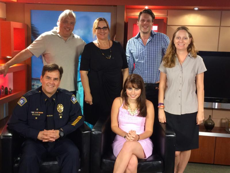 Jon Kent, Dr. Diane Adreon, Alex Kent, Debbie Dietz (standing) and Lt. Barta and Haley Moss (sitting).  The crew and actors for the 2nd Wallet Card video.