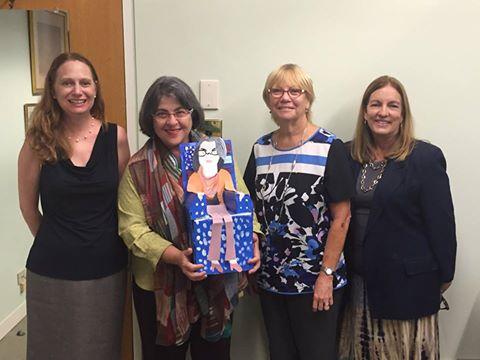 Commissioner Levine Cava, Debbie Dietz, Sharon Langer, and Maria Elena pose for a picture