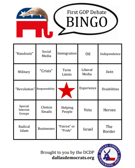 GOP bingo card