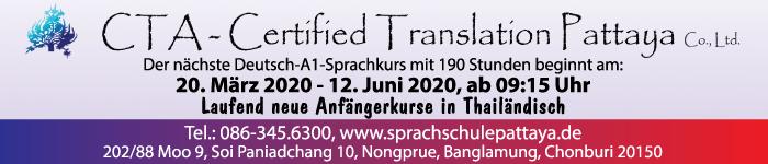 Der nächste Deutsch-A1-Sprachkurse mit 190 Stunden wird von CTA-Certified Translation Pattaya angeboten, Tel.: 086 345 6300.