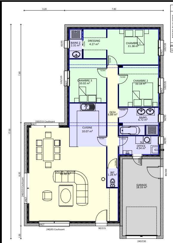 plan maison terrain rectangulaire