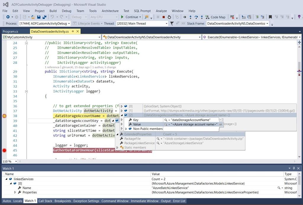 Debugging Custom  Net Activities in Azure Data Factory