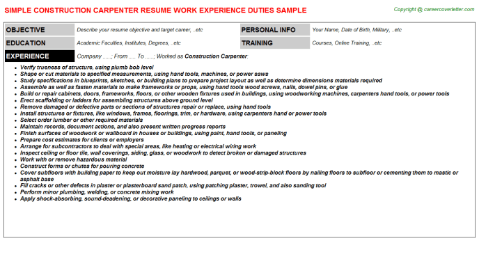 Construction superintendent resume examples and samples carpenter resume examples sample resume carpenter resume cv cover. Construction Carpenter Resume Sample