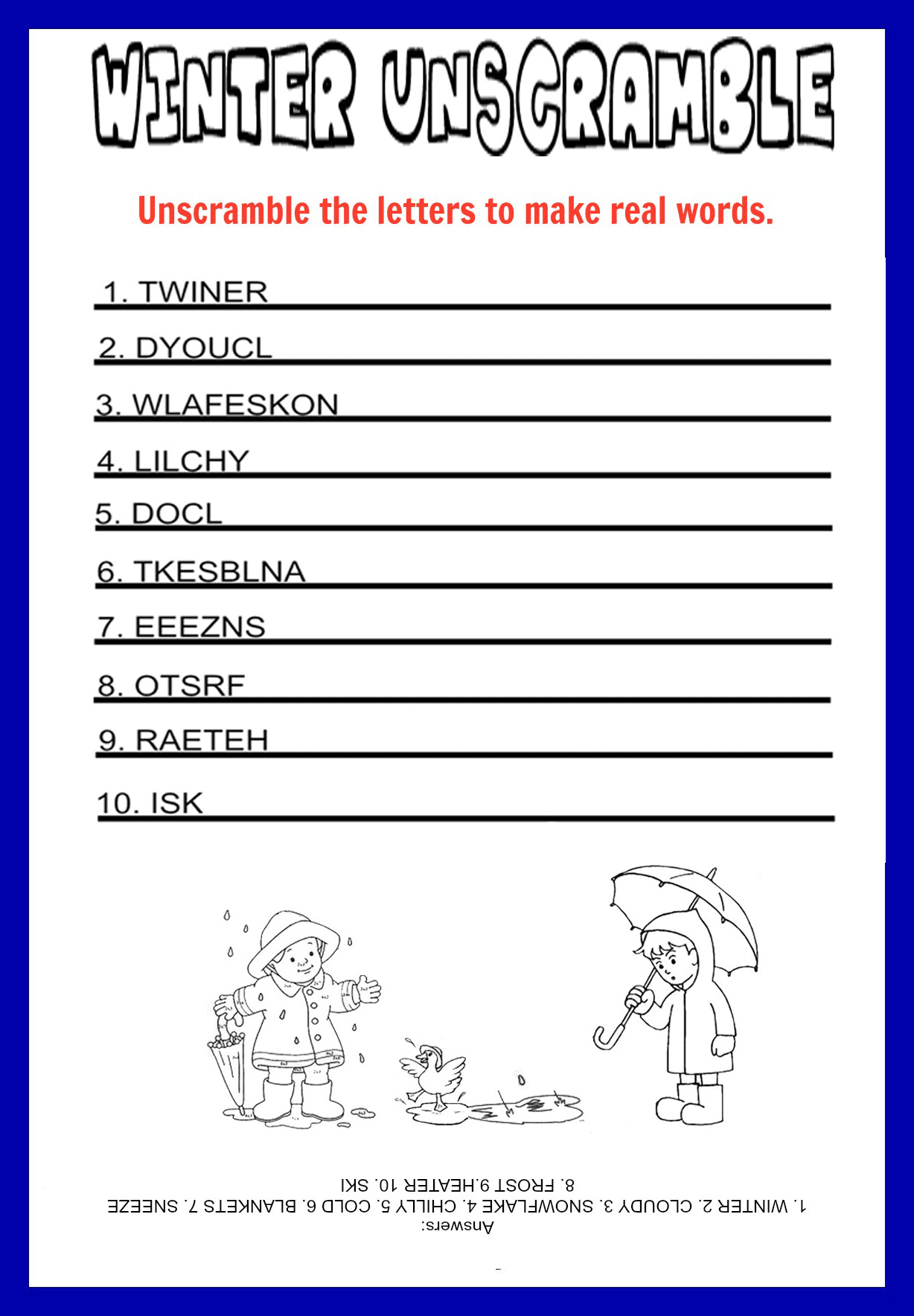 Food Word Game Word Scramble Worksheet