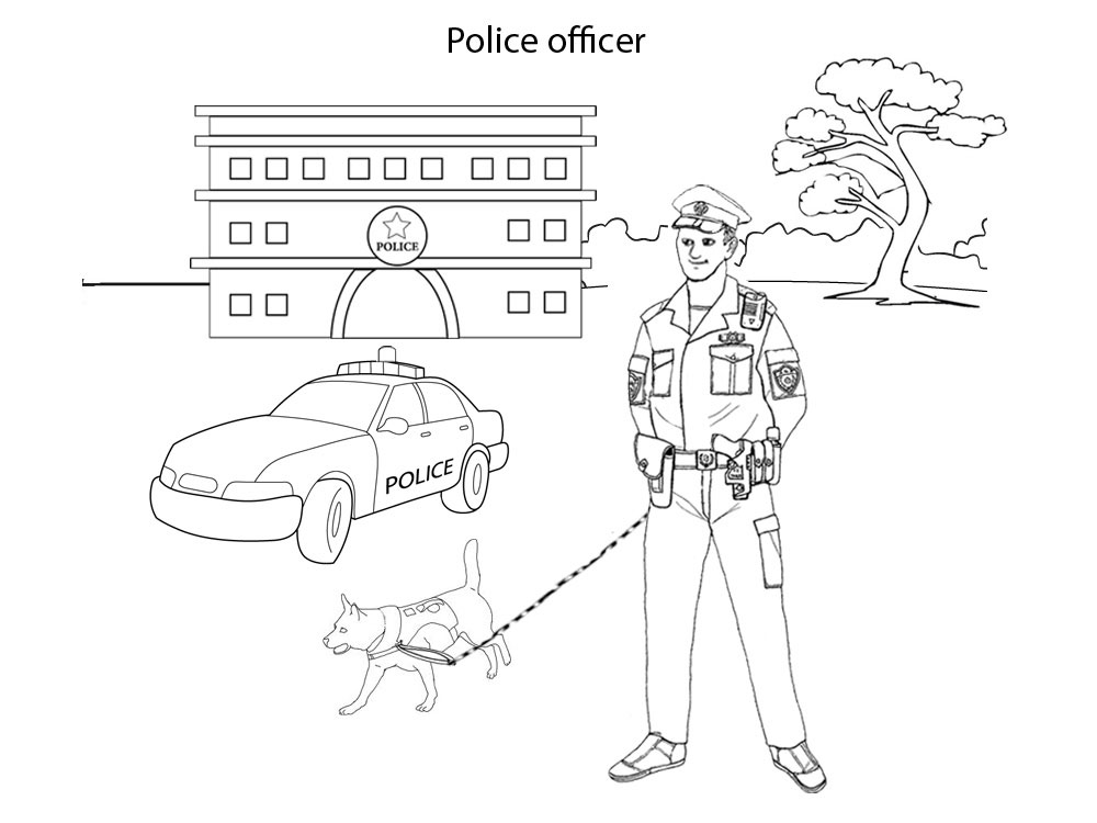 Police Officer Activities For Kids Colouring Pages