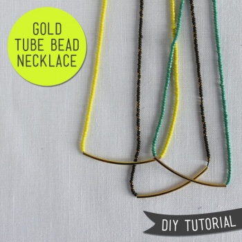 Gold Tube Bead Necklace Tutorial by Sew DIY | Project ...