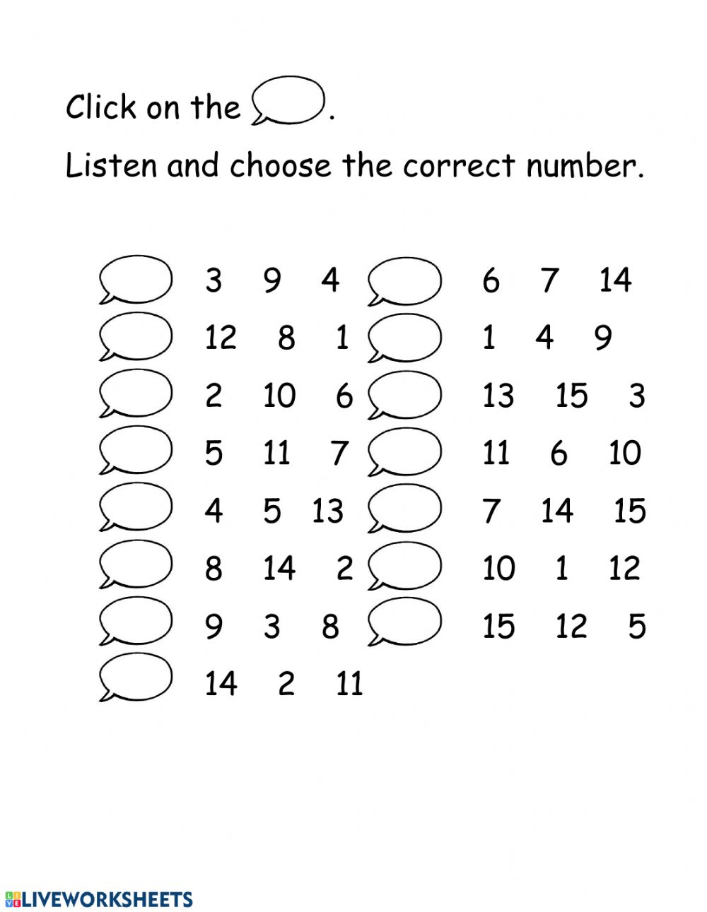 Listen And Check The Numbers 1 15 Worksheet