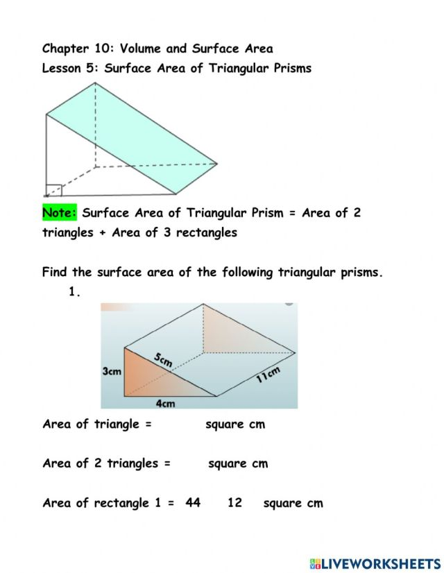 Ch 28 Ln 28 Surface Area of Triangular Prisms worksheet