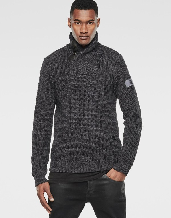 G-Star - Trui - Binorma Shawl Knit LS Lead Dark Grey