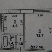 Увеличить - Объект №8920829-lotс Миронова 1-квартира( гостинка) под косм. ремонт (стены, потолок без обоев). На полу -линолеум, в ванной- плитка