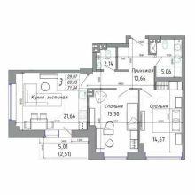 Увеличить - Объект №10339810-lotс б-р Комарова Продаю свою Евро 3-ку, 71 кв. м. на 3 этаже24 этажного монолитно-кирпичного дома ЖК