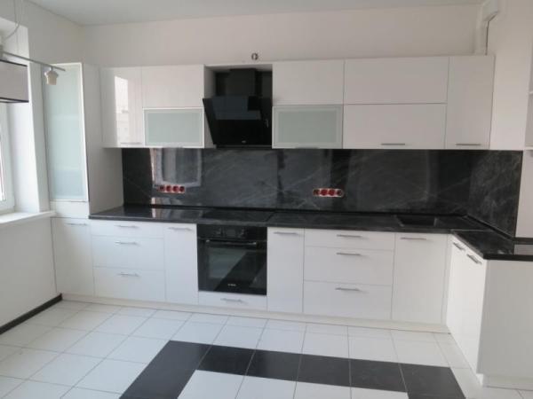 Фото Кухня Угловая Черно Белая
