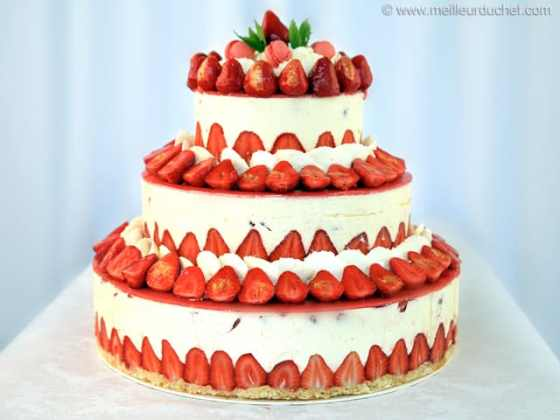 Fraisier Strawberry Wedding Cake   Recipe with images     Fraisier Strawberry Wedding Cake