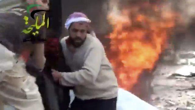 Image extraite d'une vidéo amateur tournée à l'est de Damas, le 2 janvier dernier.