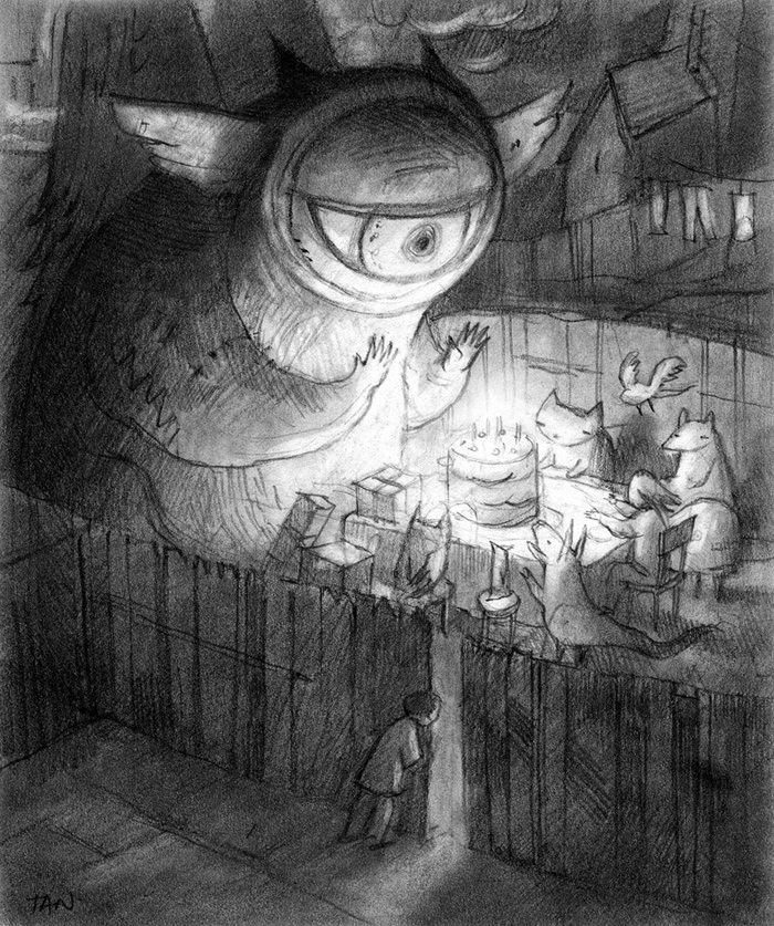 Dessin au crayon par Shaun Tan